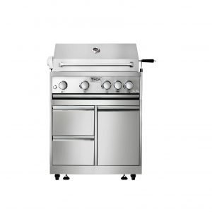 THOR 32 Inch 4-Burner Gas BBQ Grill with Rotisserie in Stainless Steel.MK04SS304