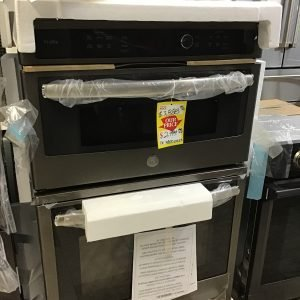 GE Profile 27 in. Double Electric Wall Oven with Convection Self-Cleaning and Built-In Microwave in Slate. PK7800EKES